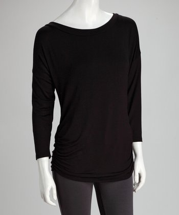 Black Boat Neck Top - Women