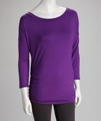 Purple Boatneck Top