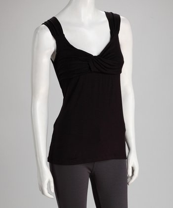 Black Cross-Front Top - Women