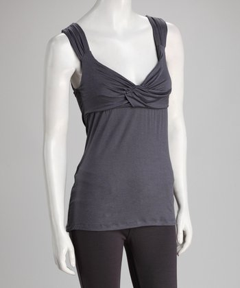 Gray Cross-Front Sleeveless Top - Women