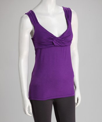 Purple Cross-Front Sleeveless Top - Women