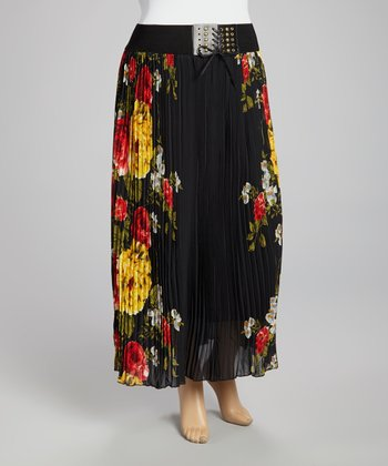 Black & Yellow Floral Pleated Maxi Skirt - Plus