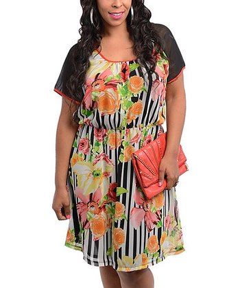 Coral & Black Floral Stripe Scoop Neck Dress - Plus