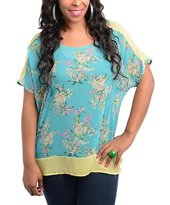 Jade & Yellow Floral Scoop Neck Dolman Top - Plus