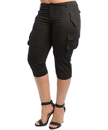 Black Cargo Capri Pants - Plus