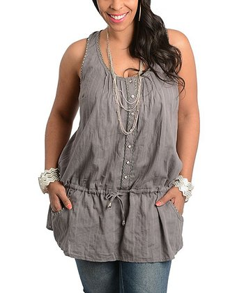 Gray Button-Up Tie-Waist Tank - Plus