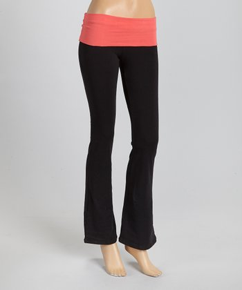 Black & Red Fold-Over Yoga Pants