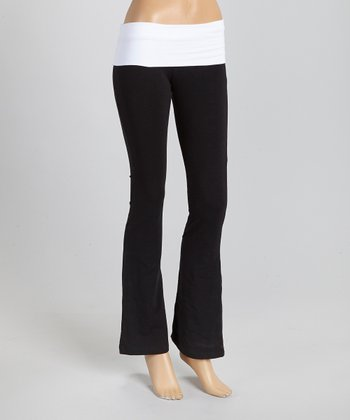 Black & White Fold-Over Yoga Pants