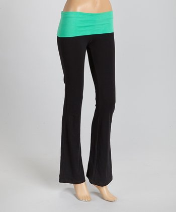 Black & Green Fold-Over Yoga Pants