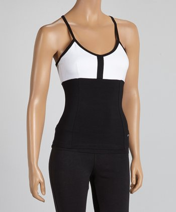 Black & White Color Block Racerback Tank