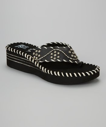 Black Rhinestone Wedge Sandal