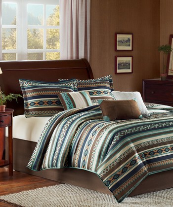 Blue & Brown Aztec Comforter Set