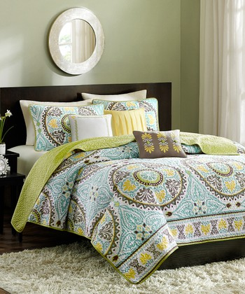 Blue & Green Circle Bless Quilt Set