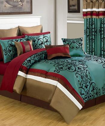 Teal & Red Eve Lavish Bedroom Set