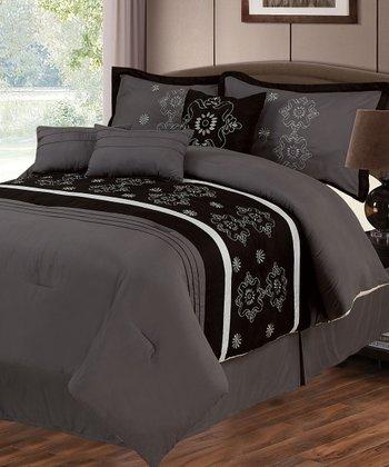 Black & Gray Julia Lavish Home Comforter Set