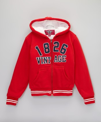 Red '1826 Vintage' Zip-Up Hoodie - Girls