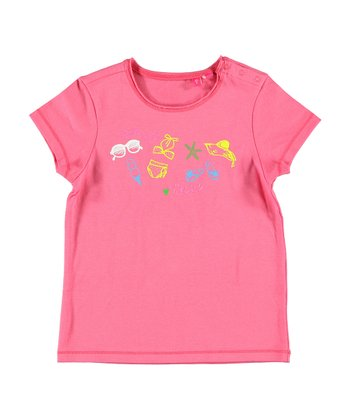 Hot Pink 'Beach Time' Tee - Infant, Toddler & Girls