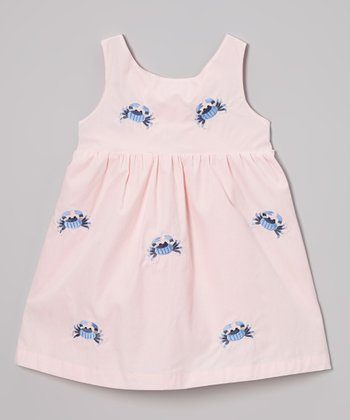Pink Crab Cross-Back Dress - Toddler & Girls