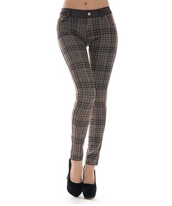 Coffee Houndstooth Plaid Jeggings