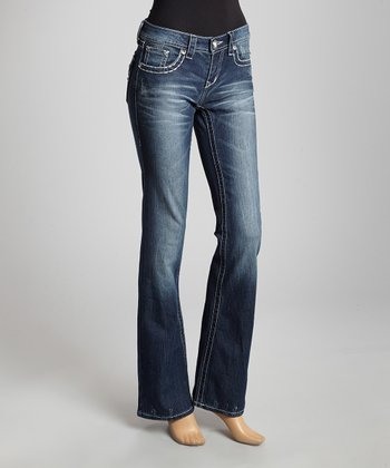 Dark Blue Winged Pocket Bootcut Jeans
