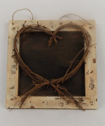 Brown Wicker Heart Plaque