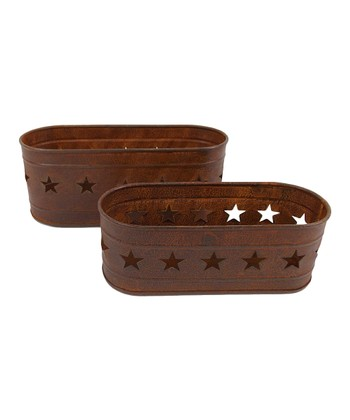 Rustic Star Cutout Planter Set