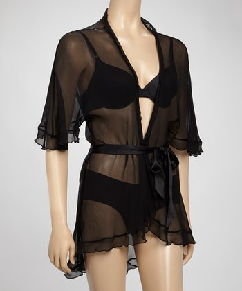 Samantha Chang Lingerie Black Angel Sheer Silk Hi-Low Robe