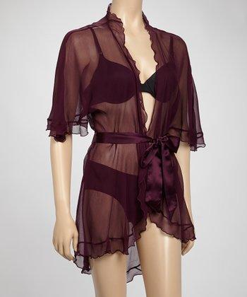 Samantha Chang Lingerie Dark Plum Angel Sheer Silk Hi-Low Robe