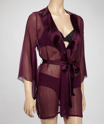 Samantha Chang Lingerie Dark Plum Sheer Silk Robe
