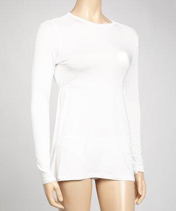 Samantha Chang Lingerie White Ruched Crewneck Sleepshirt