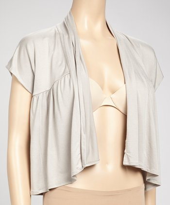 Samantha Chang Lingerie Oyster Cropped Lounge Cardigan