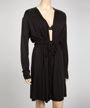 Samantha Chang Lingerie Black Drape Robe