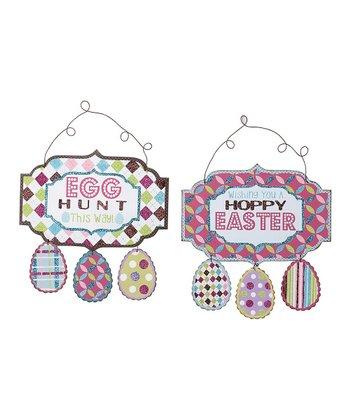 'Egg Hunt' & 'Hoppy Easter' Wall Sign Set