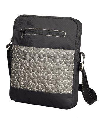 Sherpani Pewter & Black Floral App Crossbody Bag