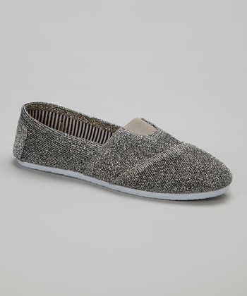 Silver Glitter Canvas Slip-On Shoe