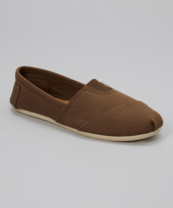 Brown Canvas Slip-On Shoe