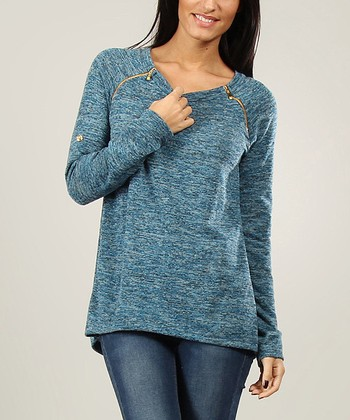 Blue Zipper Wool-Blend Boatneck Sweater