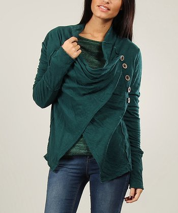 Green Draped Button Cardigan