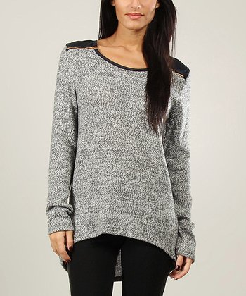 Heather Gray Zipper Wool-Blend Sweater