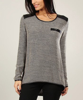 Beige Epaulet Wool-Blend Sweater