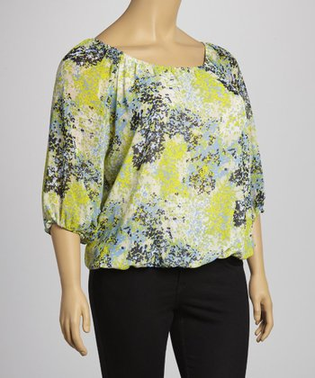 Yellow & Lime Floral Scoop Neck Top - Plus
