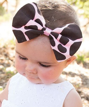 Pink & Brown Giraffe Bow Headband