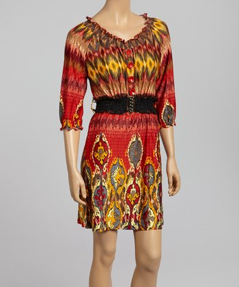 Red & Yellow Ikat Belted Peasant Dress