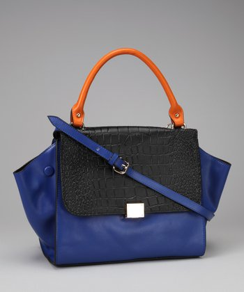 Blue & Orange Color Block Crossbody Bag