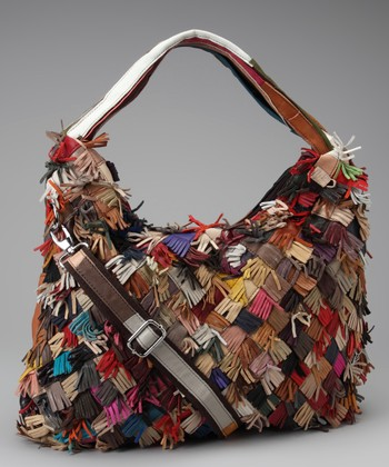 Tan & Red Checkerboard Fringe Hobo