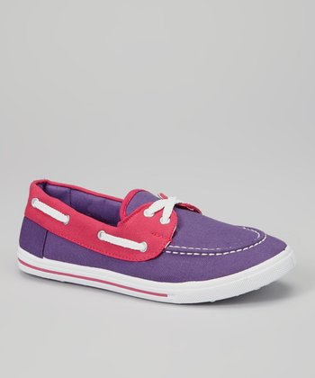 Purple & Fuchsia Color Block Boat Shoe