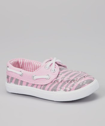 Light Pink Zebra Sequin Boat Shoe