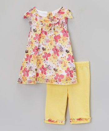 Yellow Floral Ruffle Tunic & Leggings - Infant & Toddler