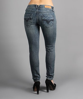 Medium Wash Rhinestone Pocket Skinny Jeans