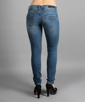 Light Wash Rhinestone Pocket Skinny Jeans